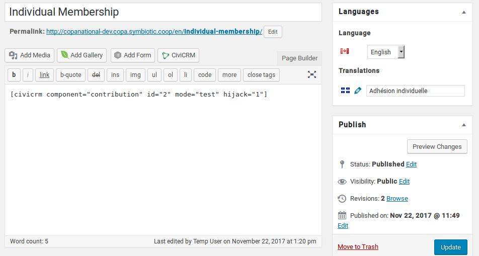 edit page shortcode and language wordpress