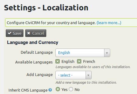 settings - localization wordpress