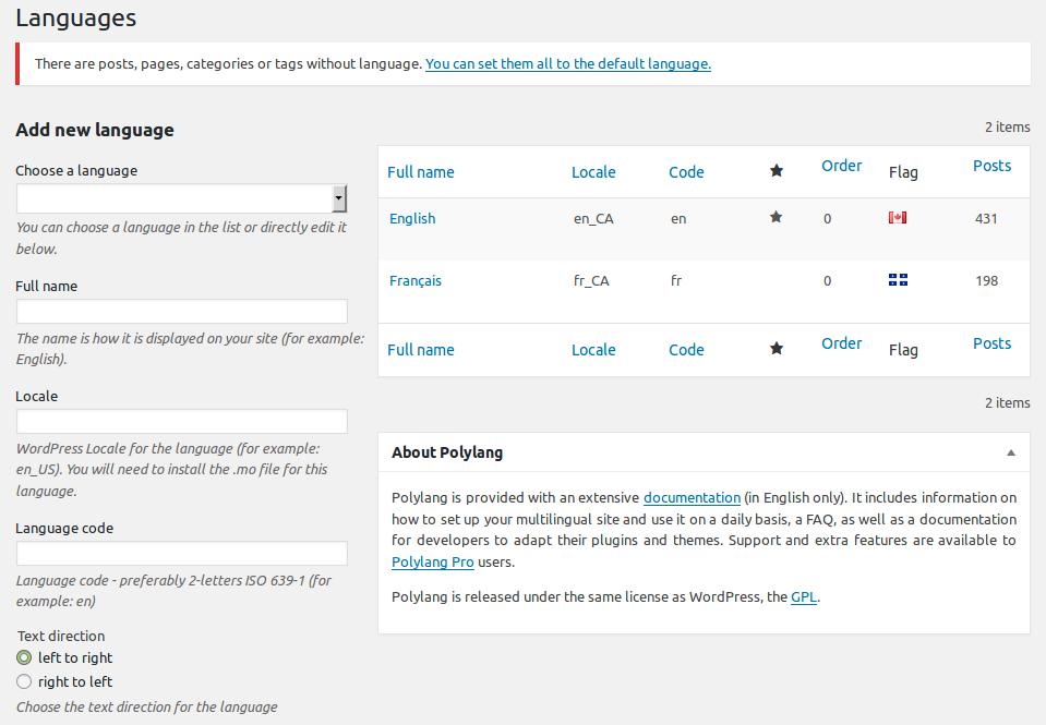 polylang - languages config wordpress