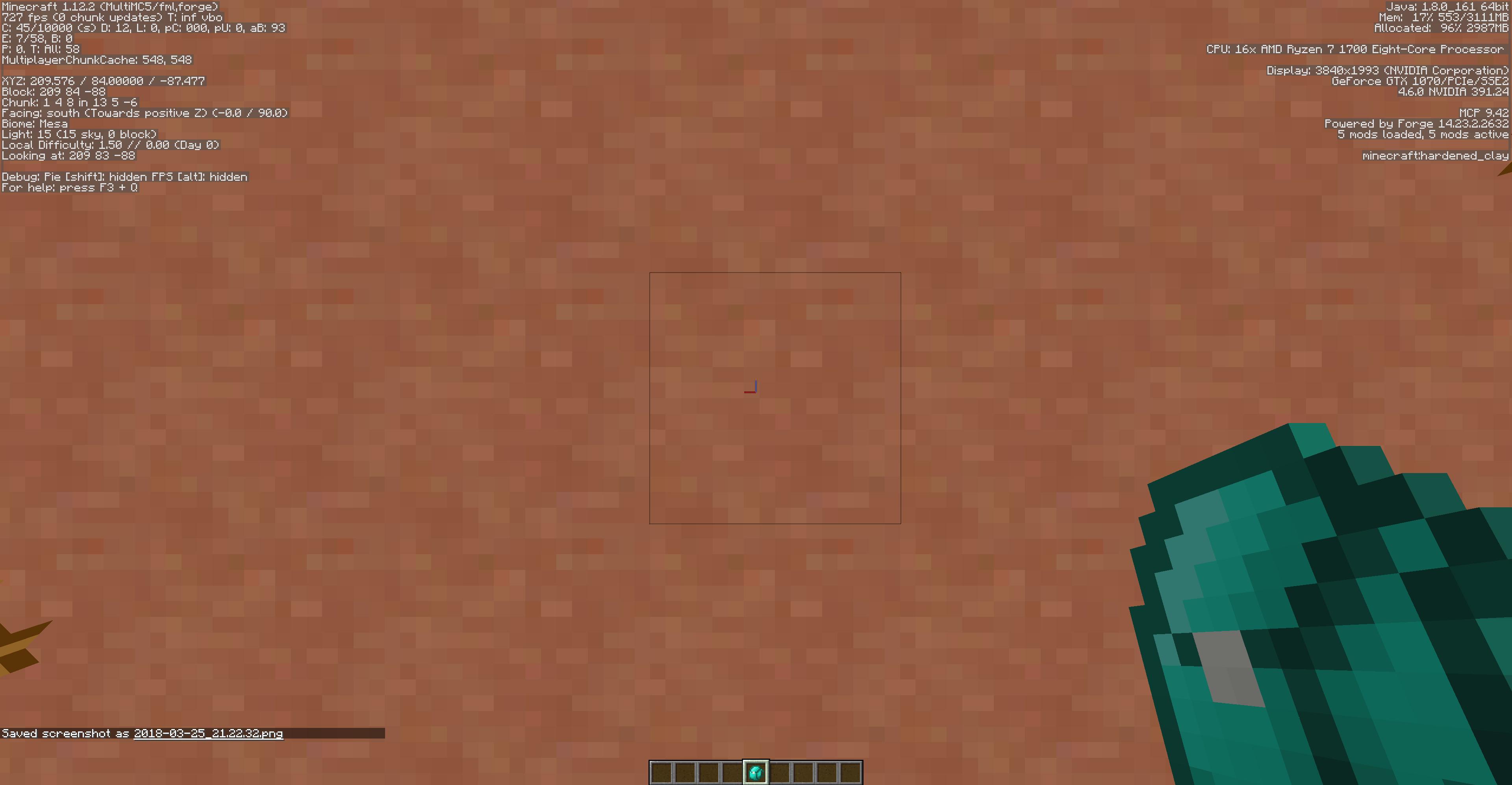 Having Iron (Diamond) backpack selected in hotbar lags