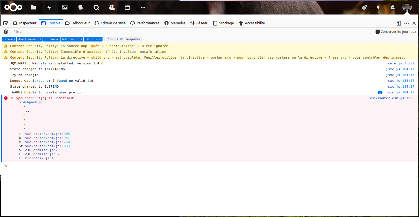 blank page when I try to display the user page or