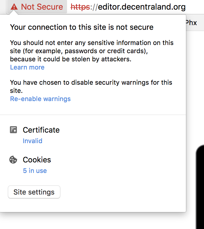 Invalid Ssl Certificate Editorcentraland Issue 23