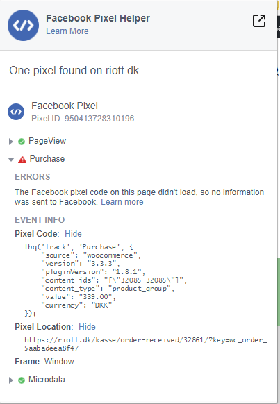 Facebook purchase pixel not working · Issue #331 · facebookincubator