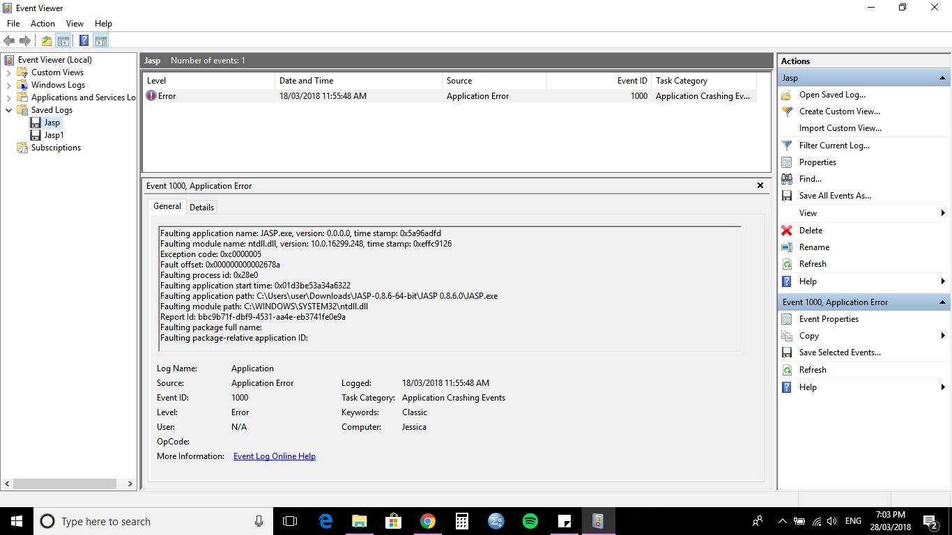 Crashing - Windows 10 opening file (ntdll ll) · Issue #146 · jasp