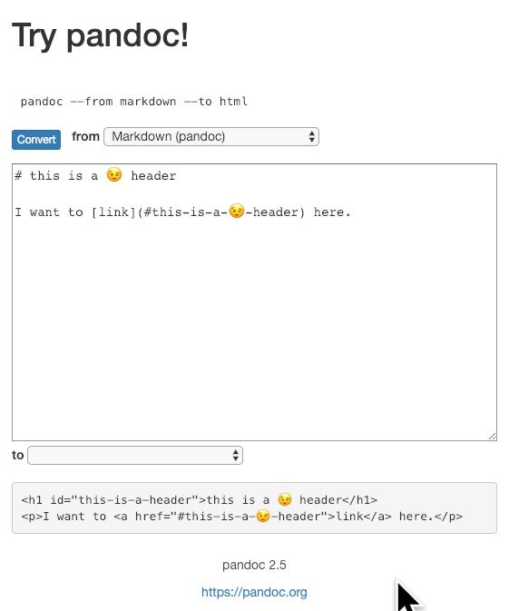 Support for IRI links (Unicode, Emojis) · Issue #5201 · jgm/pandoc