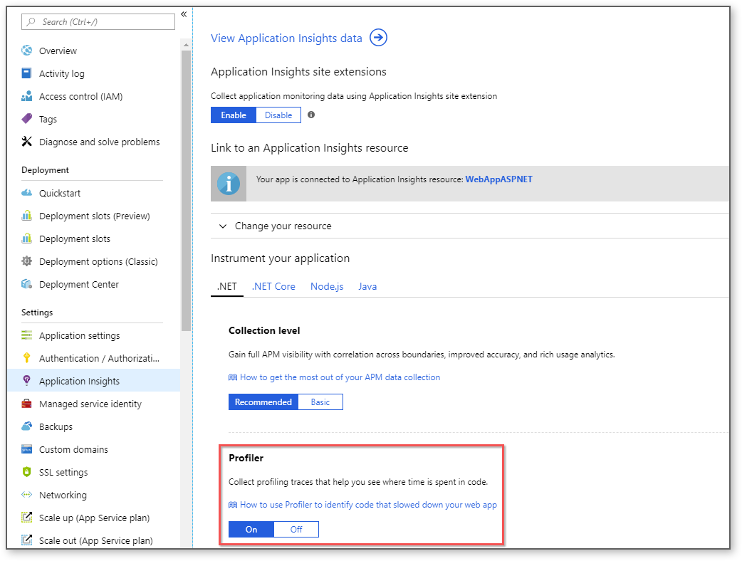 Application Insights blade greyed out · Issue #18051
