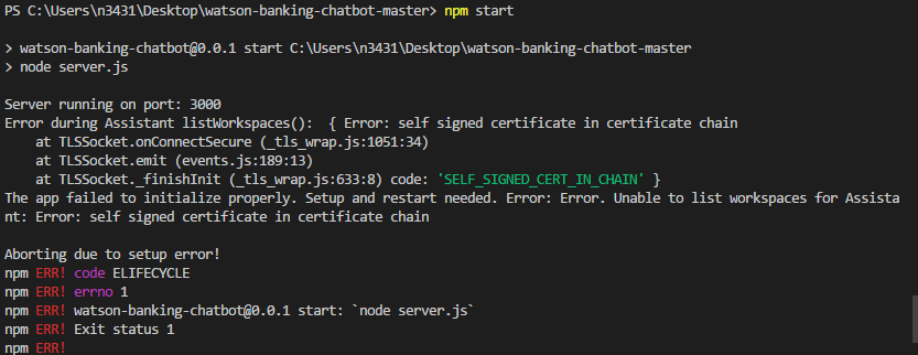 self signed certificate in certificate chain · Issue #98