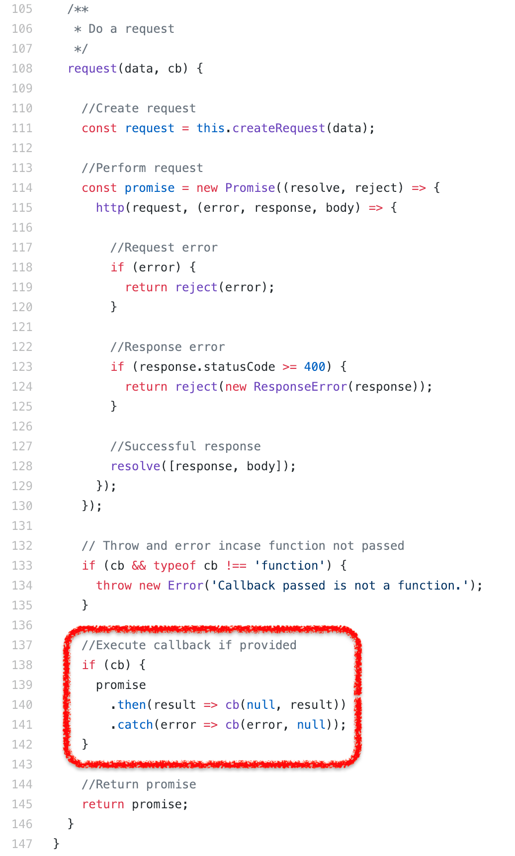 Unexpected promise rejection while using callback API