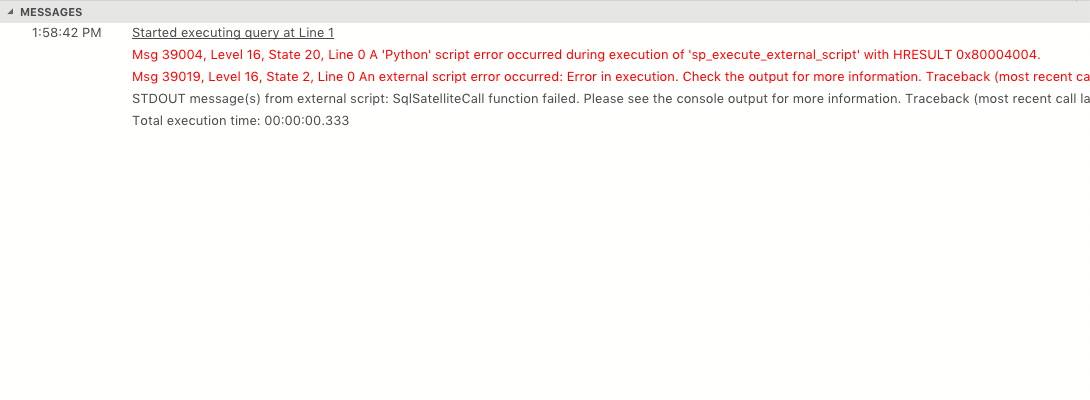 Messages window showing multiple errors including stack traces. Each message is displayed on a single line and the user would have to scroll very far to the right to see the stack traces