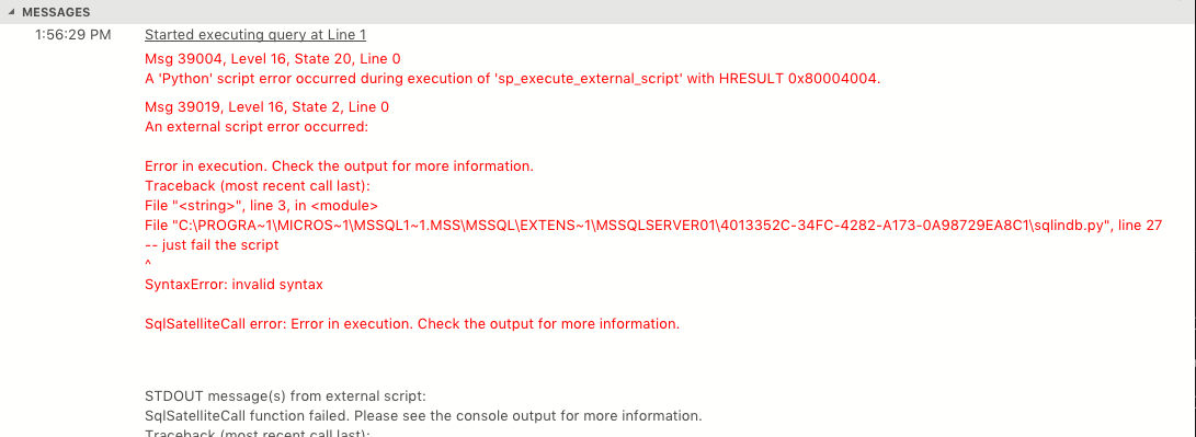 Messages window showing multiple errors including stack traces with proper line breaks in the stack traces and other messages