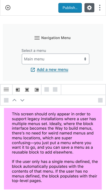 Existing menu selection