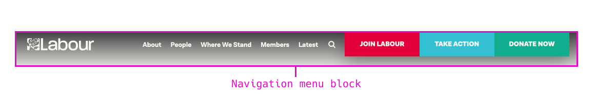 Screenshot of site header with a navigation menu