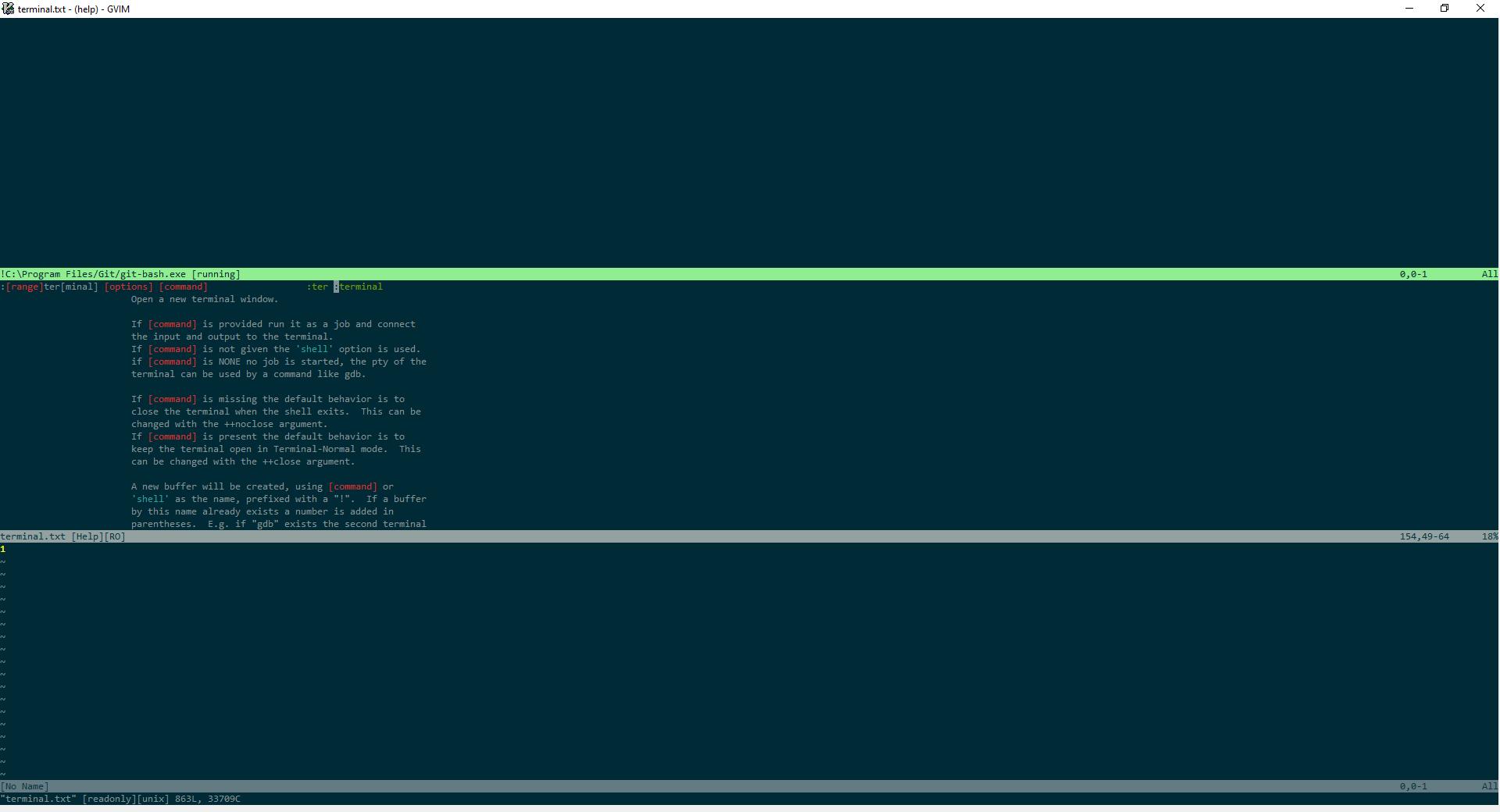 Windows 10 :term opens git-bash shell outside of vim instead