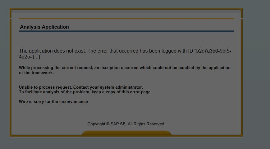 Application does not exist error- in BI launch pad while