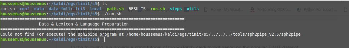 error while running  /run sh after downloading TIMIT dataset