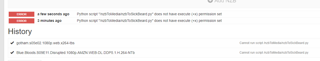 SICKBEARD: Unable to figure out what folder to process  -