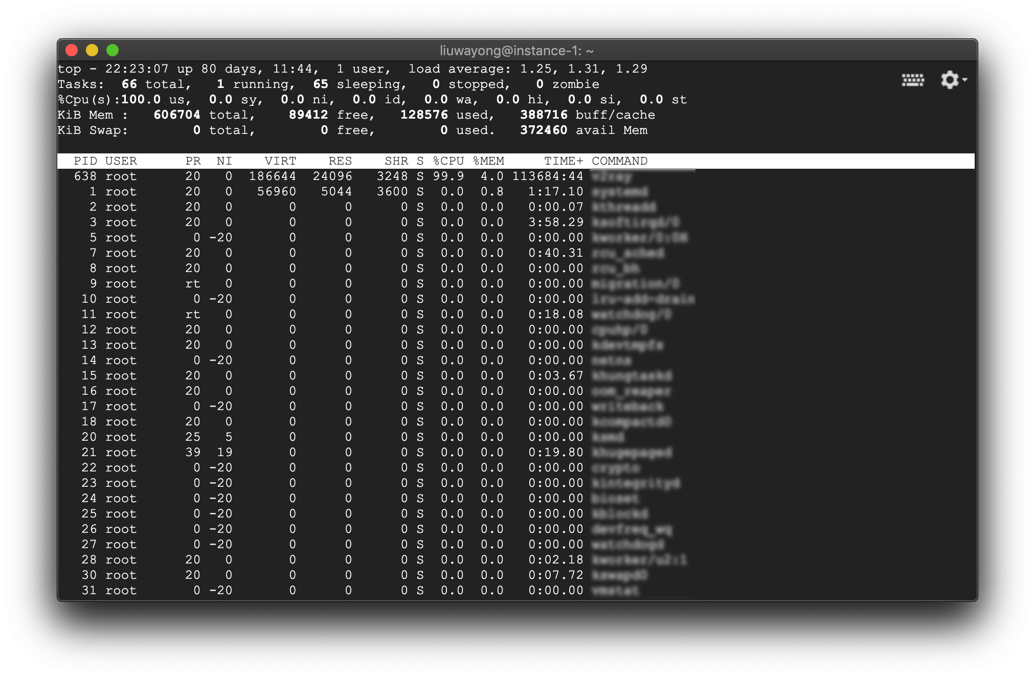top命令的输出界面