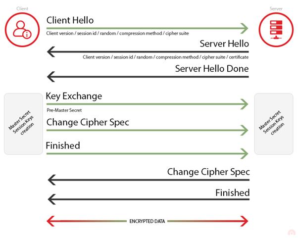 SSL/TLS 建立链接及握手的示意图