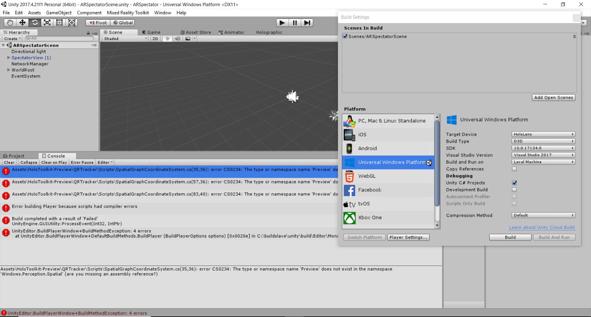 Spectator Preview Build Error QRTracker · Issue #3509