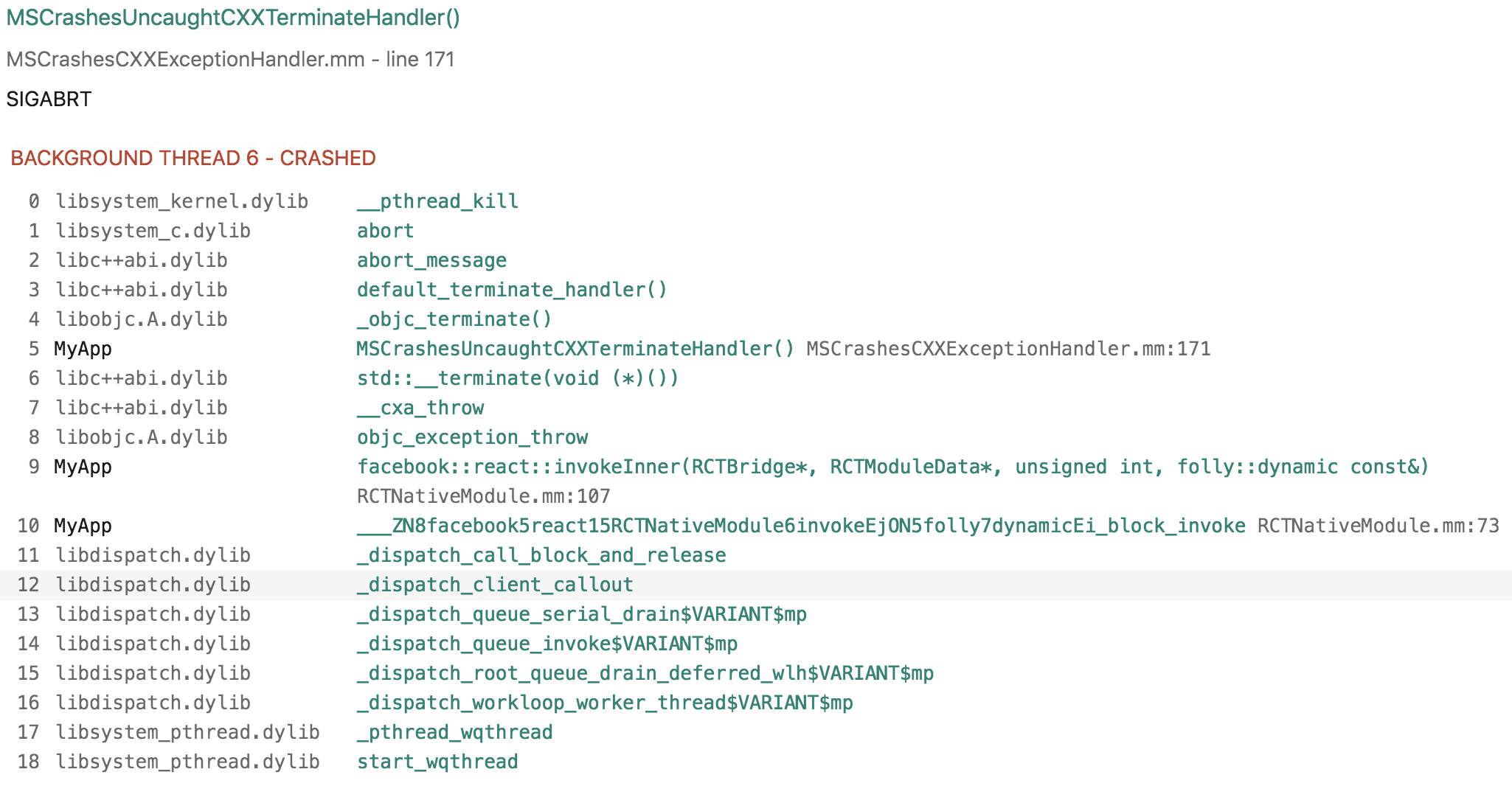 iOS] React Native stack trace does not show JS lines · Issue