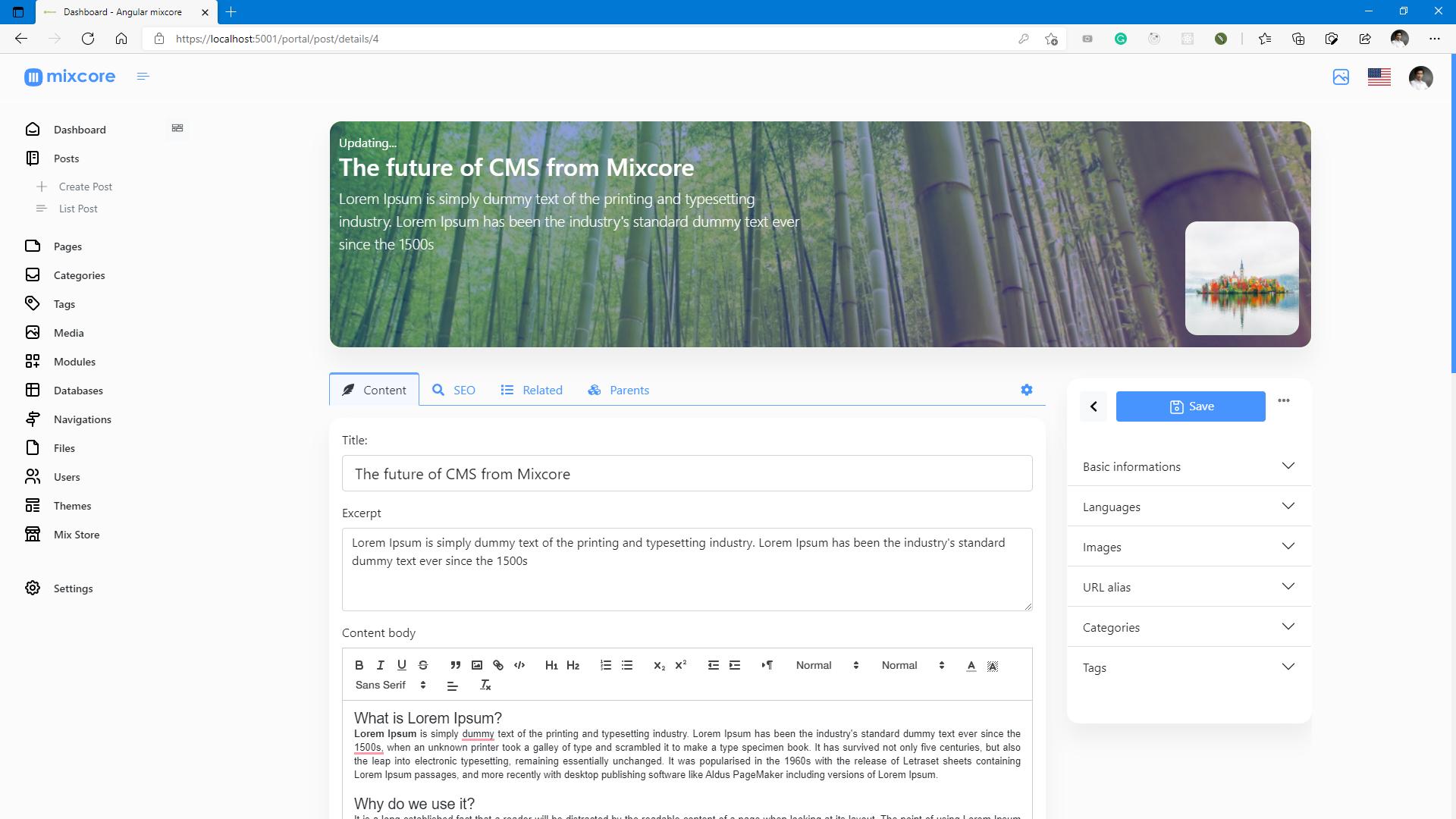 Mixcore Admin Portal Bootstrap 5.x