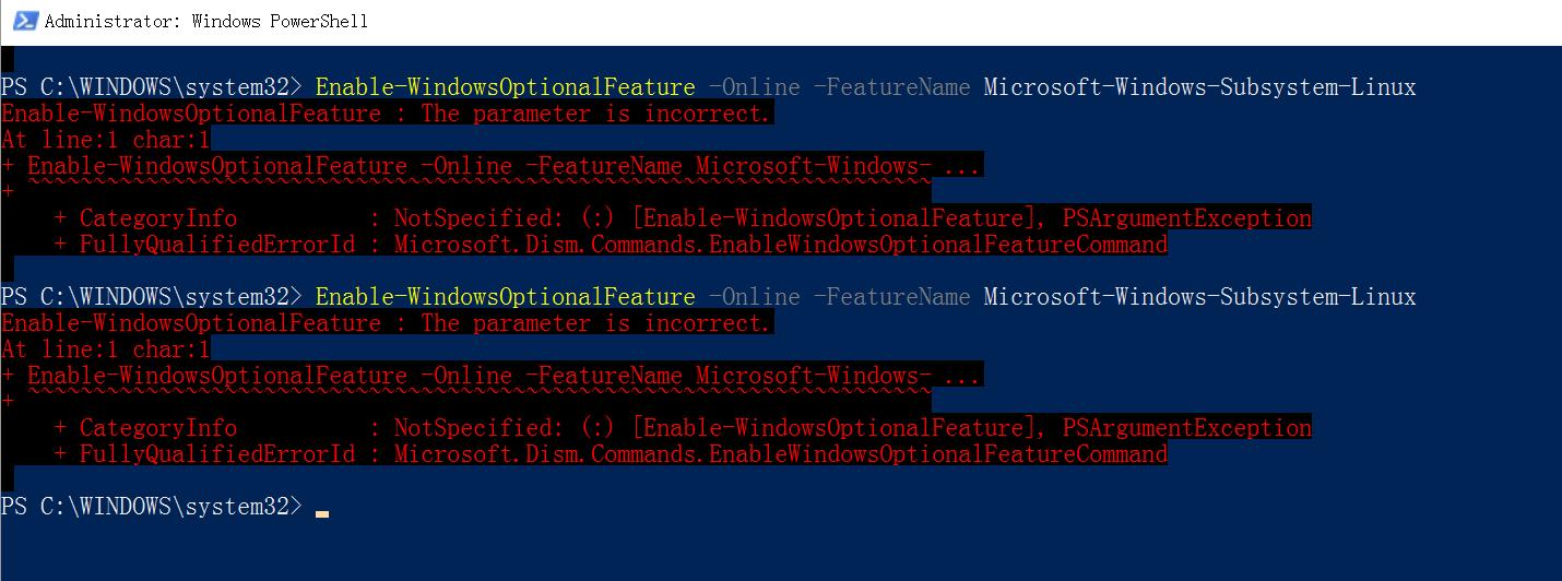 Error: 0x80070057 · Issue #7 · microsoft/WSL · GitHub