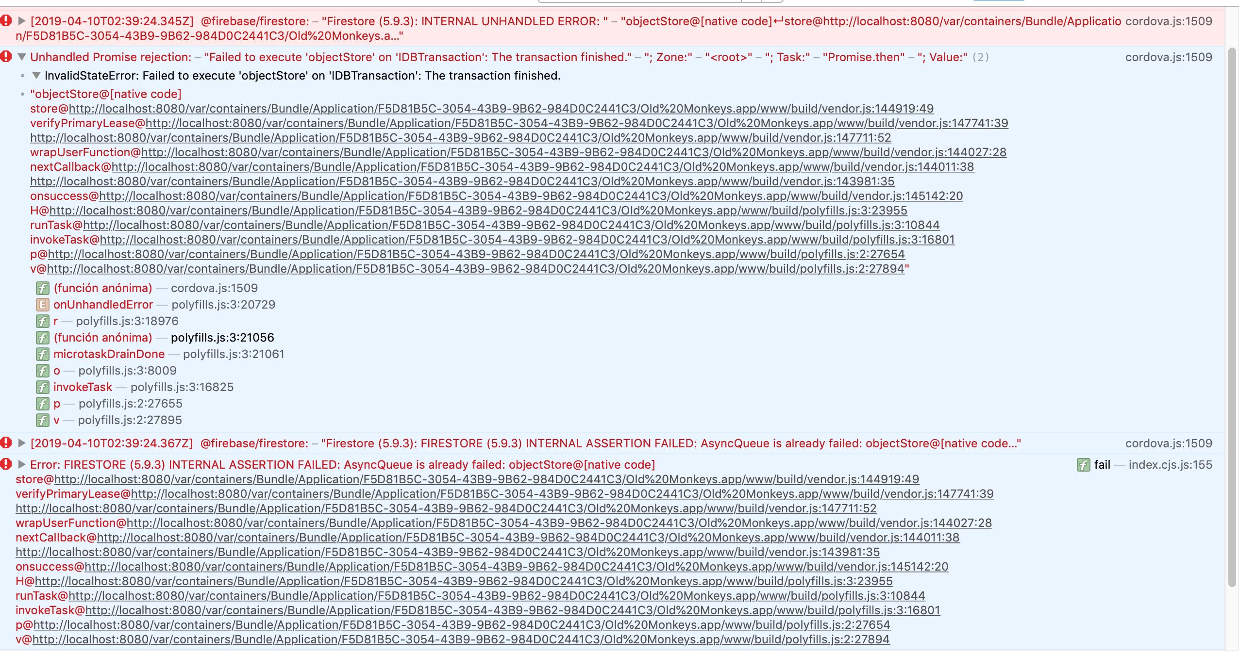 IOS 12 2 - Safari 12 1 - INTERNAL UNHANDLED ERROR:     error
