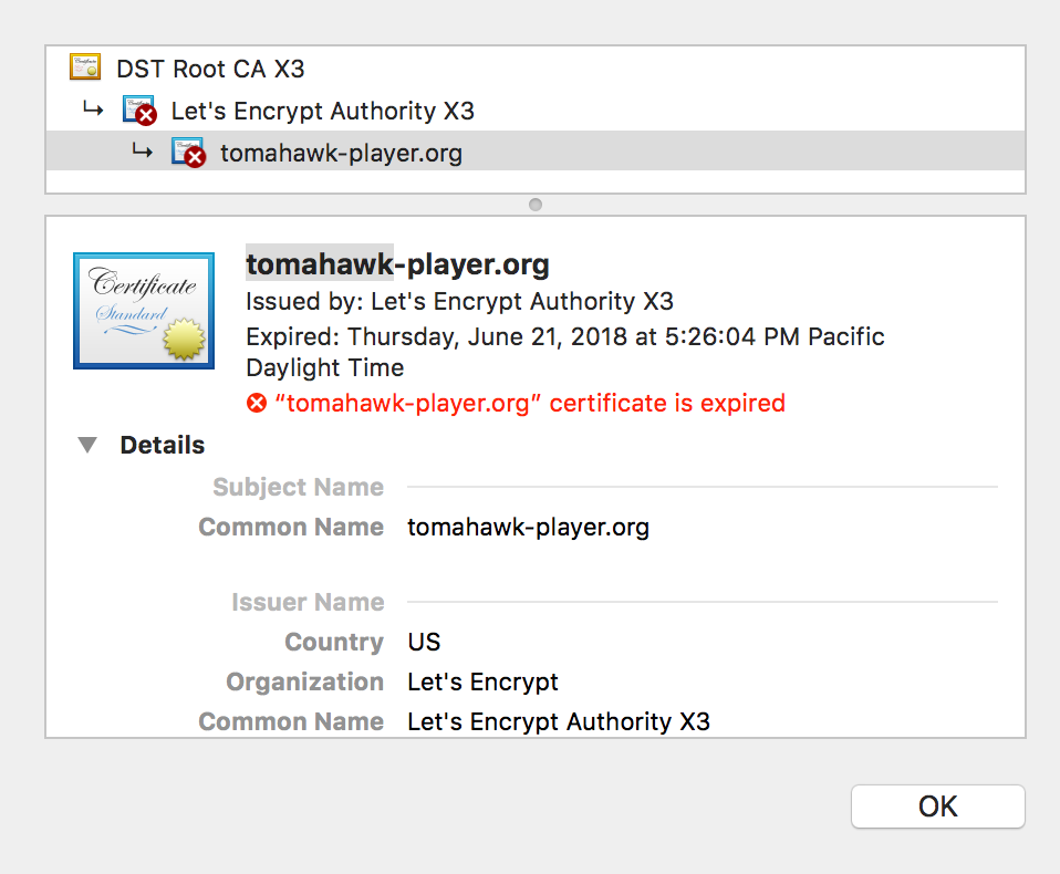 Tomahawk Player Certificate Expired Issue 650 Tomahawk