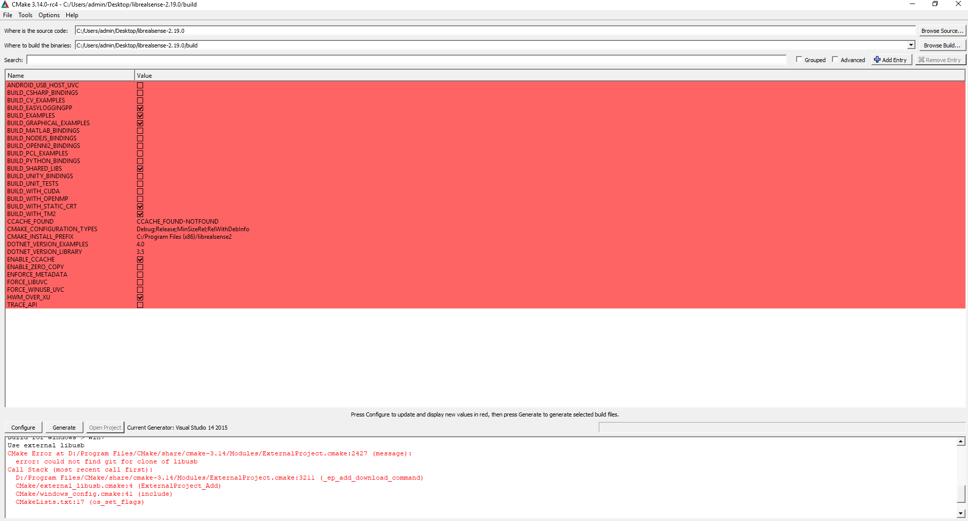 When I use Cmake to build the source,there is the error
