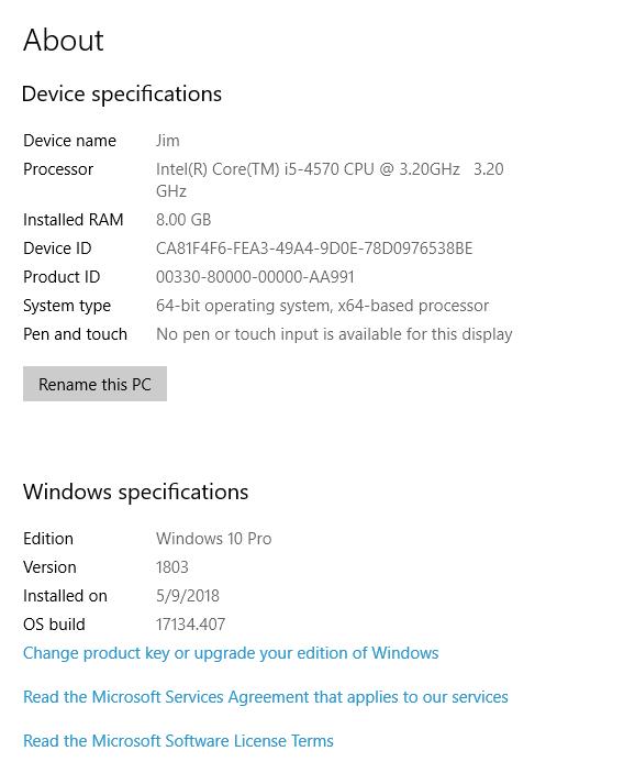 windows 10 pro version 1803 product key
