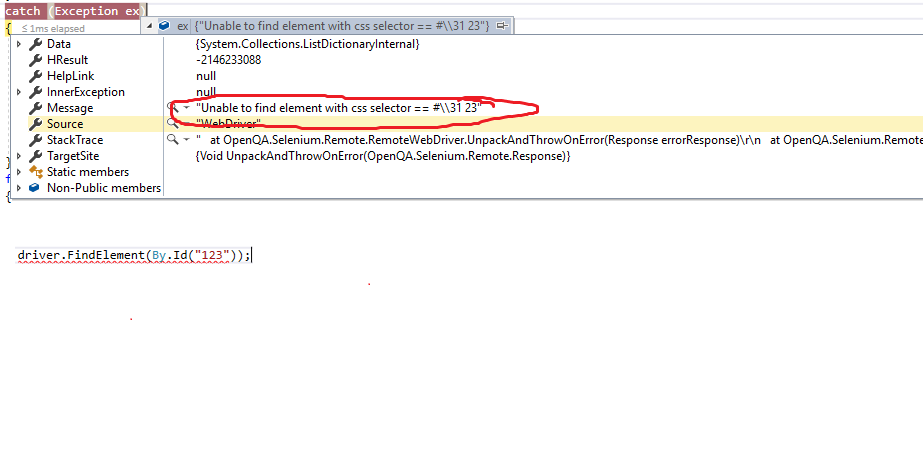 Selenium WebDriver has inconsistent behaviour on finding