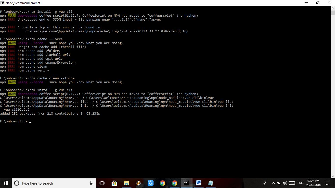 npm install -g vue-cli npm WARN deprecated coffee-script