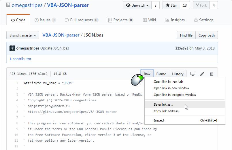 GitHub - omegastripes/VBA-JSON-parser: Backus-Naur Form JSON Parser