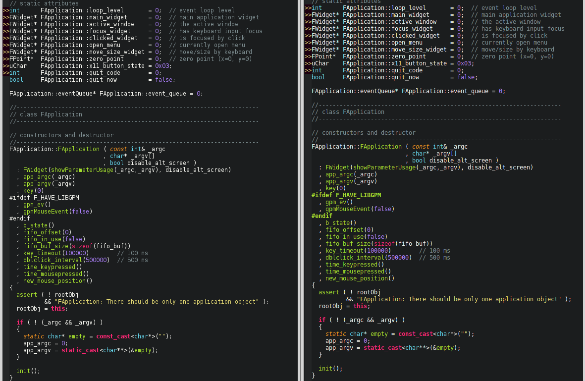 Look At The FWidget Word Specifically FW Left Is Neovim Qt And Right Gvim Both Are Using DejaVu Sans Mono Size 9