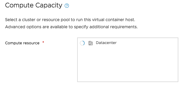 Compute resource selector widget hangs in a certain VC configuration