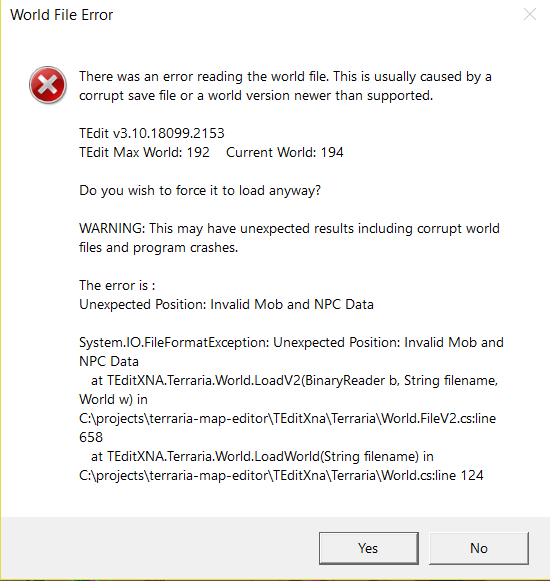 tedit error (file cant open in terraria(corrupted) and tedit(error
