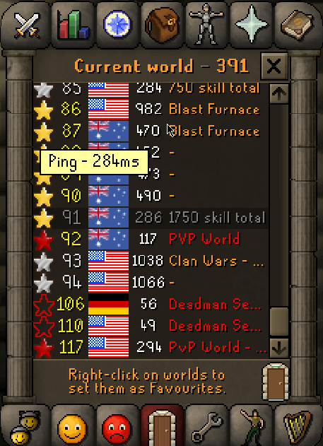 Request for a ping indicator in the world switcher menu