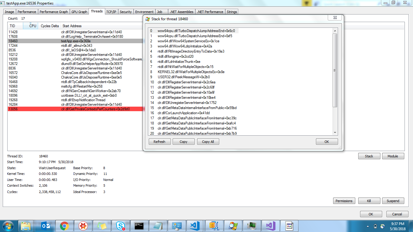 Background process for wpf app is never killed even after