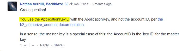 Backblaze B2 Application Keys fail to authorize · Issue