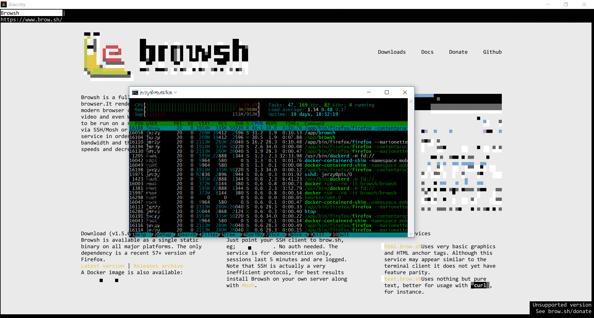 Slow performance, high CPU usage · Issue #144 · browsh-org/browsh