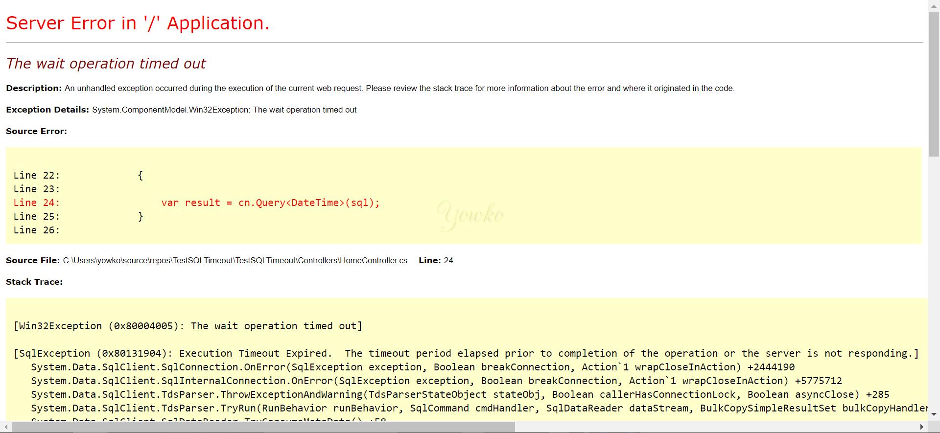 C# 使用Dapper 連線DB 時指定逾時時間(timeout):0x80004005