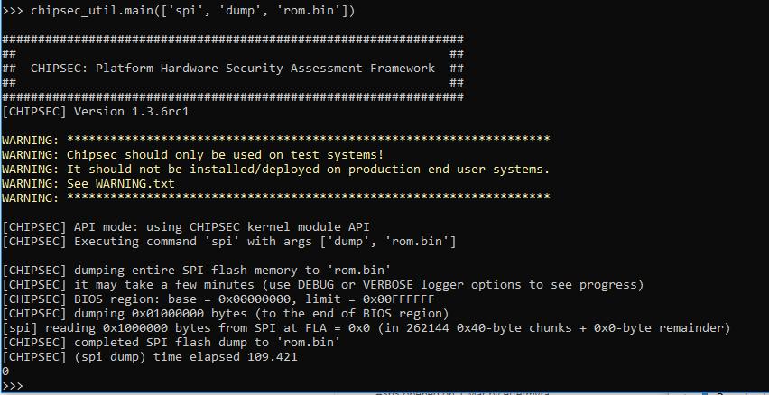chipsec_util main(['spi', 'dump', 'rom bin']) dumps 16MB bios rom