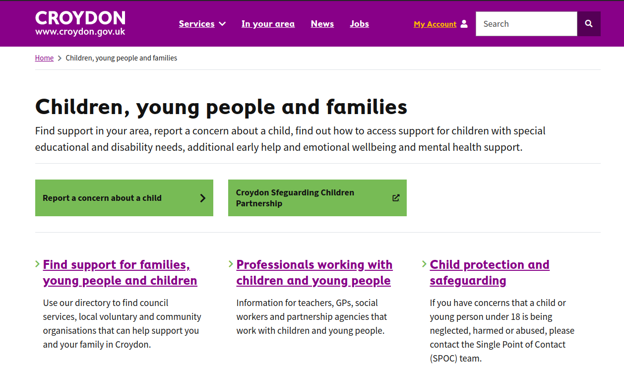 iScreenshot of Croydon's Children, young people and families Service Landing Page (full description below)
