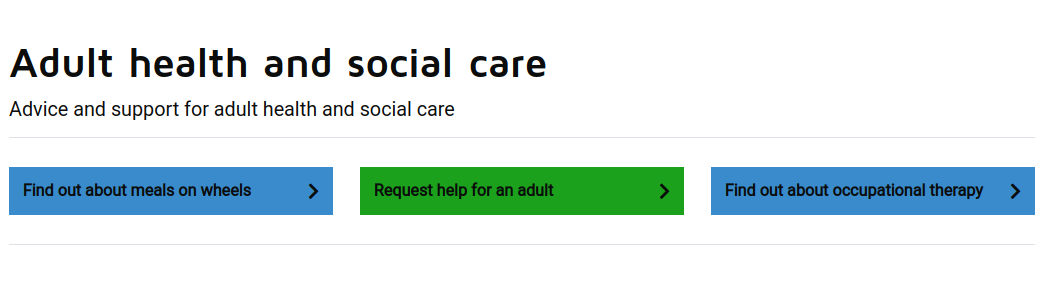 """Screenshot of the LGD demo site """"Adult and social care"""" Service Landing Page, showing three common task links - 2 blue information links and 1 green action link"""