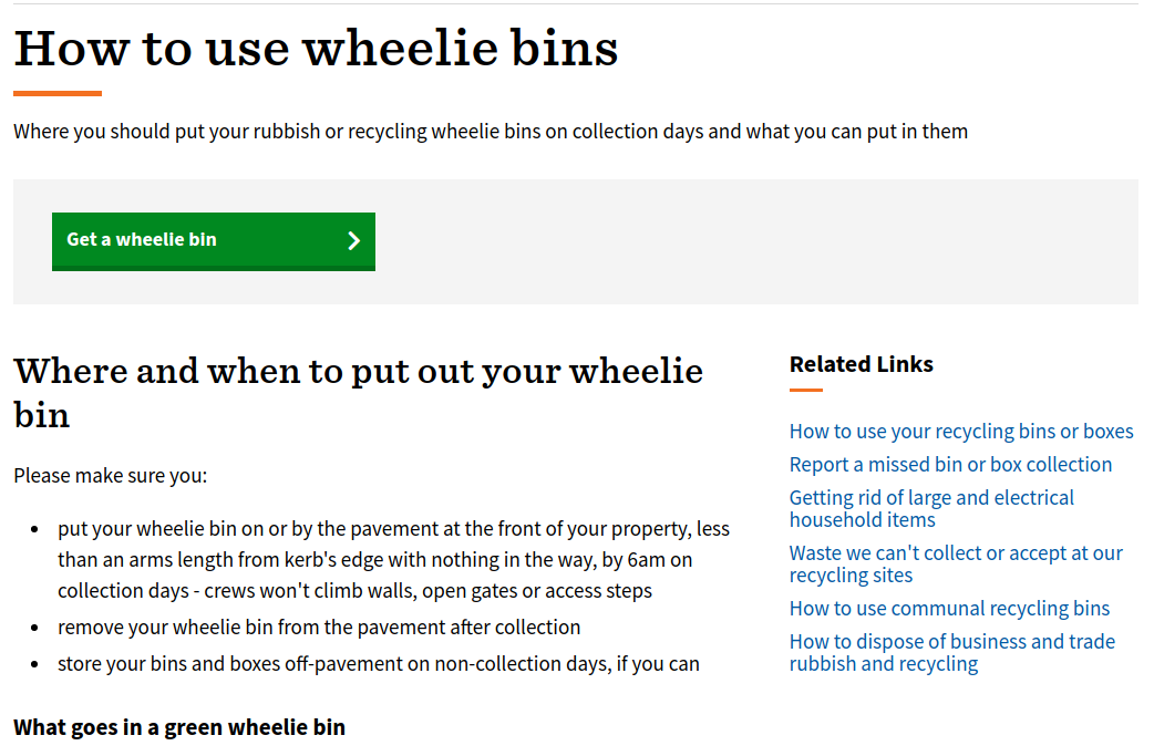 Brighton and Hove's How to use a wheelie bin Service Page, description below