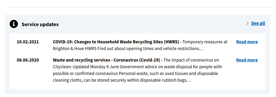 Screenshot of Brighton's Rubbish & Waste Service Landing Page, with 2 status shown below a title Service updates