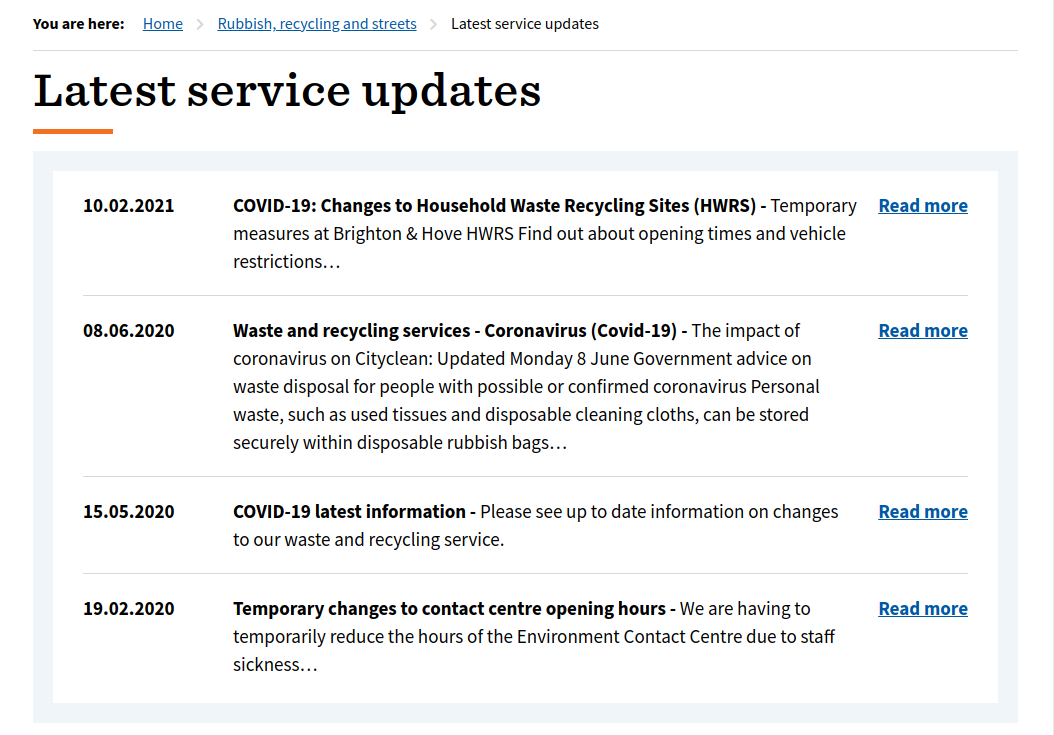 Screenshot of Brighton's Rubbish & Waste Service Status updates, showing 4 updates with the most recent first