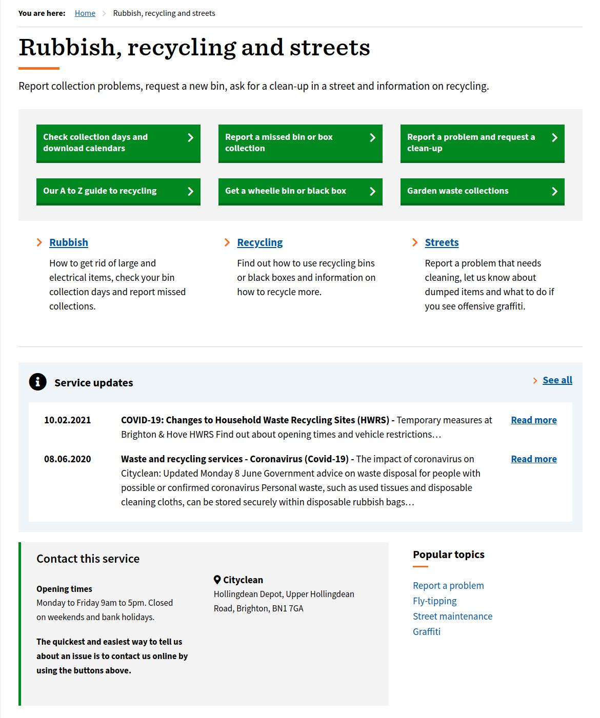 Brighton's Rubbish service page - see link above