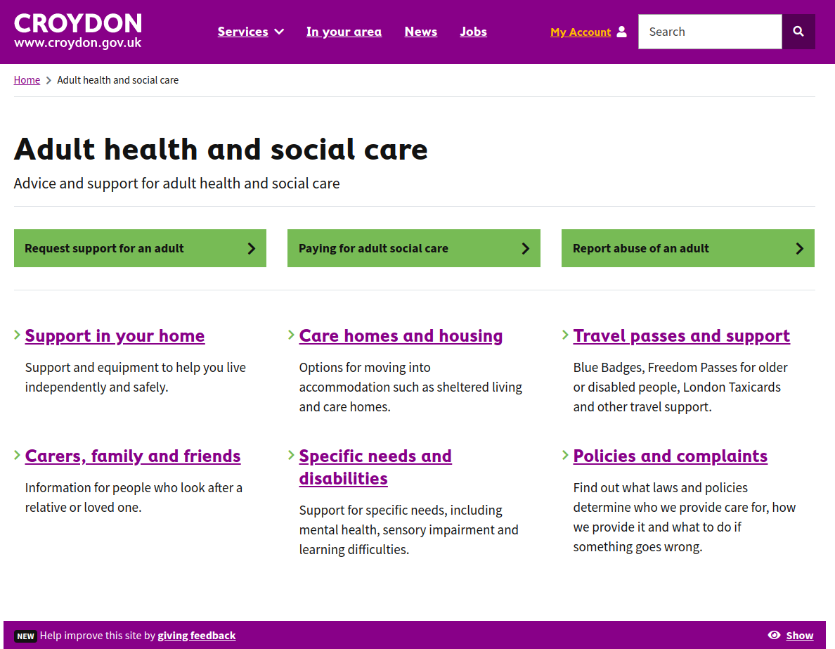Croydon's Adult Health service page - see link above