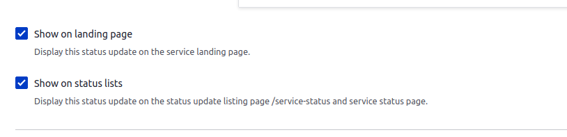 """Screenshot of the Edit screen, showing two checkboxes labeled """"Show on landing page"""" and """"Show on status list"""""""